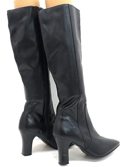 ヌオーヴォNUOVOロングブーツM黒ブラック靴無地シンプル靴くつレディース【ベクトル古着