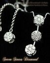 Total 1.0 ct Seven Stones Triple Diamond 7 grain diamond トリプルペンダントネックレス & 7 grain diamond earrings 18 K/WG white gold