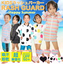 Swimsuit child immediately fast-dry prevention of rush guard kids long sleeves rush parka horizontal stripe dot colorful zip up UPF50+ UPF UPF50+ processing UV cut ultraviolet rays Inui