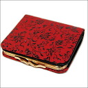 It includes 1605 印傳屋印伝 pouch wallet billfold flower arabesque (red X black) postage