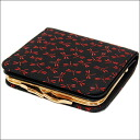 1605 印傳屋印伝 pouch wallet billfold dragonflies (black X red) It includes the postage