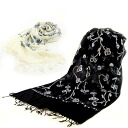 Kashmir embroidered scarf wool 100% 2 colors shawl kimono scarf feather 織mono off white black white