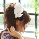 "Hair ornament coming-of-age ceremony (I chew, and decoration セイジンシ result pitches a camp カミカザリ spread) long-sleeved kimono hakama ""sum pink"" orchid flower motif hair ornament hair decoration long-sleeved kimono hairstyle white (white) wedding c"