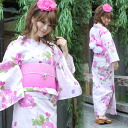 "Yukata set women making belt high grade still weave yukata 7 piece set see blur in pink rose pattern ""[zu] yukata belt clogs Womens retro rose 05P10Dec13"