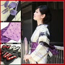 "Yukata set women's high quality still weave cotton hemp yukata 3 pieces ""off-white ground blue-violet IRIS with black vertical stripes ' yukata belt clogs women retro modern flower women kimono women yukata set classic purple-adult"