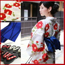 "Yukata set ladies high quality still weave cotton yukata 3 pieces ""in off-white fish with purple Bellflower"" yukata belt clogs women retro modern flower woman kimono women yukata set classic adult"