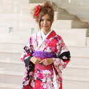 Kimono rental adult set 20 points set black red adult ceremony from weddings and formal kimono kimono galumnidae trusting rental れんたる comingof inbetween セイジンシキ bag bag