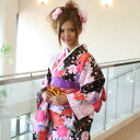 Kimono rental adult formula set pure silk Kyo Yuzen 20 full set black ceremony from the wedding ceremony and the formal kimono kimono galumnidae trusting rental れんたる comingof inbetween セイジンシキ bag bag