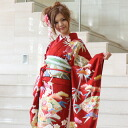 Wave kimono kimono フリソデ from 20 points of long-sleeved kimono rental coming-of-age ceremony set pure silk fabrics Kyoto yuzen full set red coming-of-age ceremonies to a wedding ceremony and a four circle; sleeve rental れんたるせいじんしき Seijin Shiki bag bag
