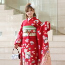 Kimono rental adult formula pure silk Kyo Yuzen kimono rental adult set 20 points set red adult ceremony from weddings and formal