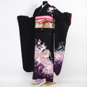 Wave kimono kimono フリソデ from 20 points of long-sleeved kimono rental coming-of-age ceremony set full set black coming-of-age ceremonies to a wedding ceremony and a four circle; sleeve rental れんたるせいじんしき Seijin Shiki bag bag