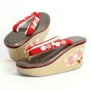 Cherry embroidery type thick bottom heel Sandals red kimono hakama Quinceanera graduation ceremony heel thick sole this was crunching suddenly thongs and much [zu]