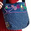 藍染め手刺繍ショルダーバッグ