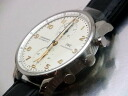 Aida Engineering, Ltd. bulldog sea - IWC - ポルトギーゼクロノグラフ IW371445 white clockface & gold needle SS case / leather is automatic