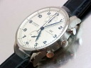 Aida Engineering, Ltd. bulldog sea - IWC - ポルトギーゼクロノグラフ IW371446 white clockface & blue needle SS case / leather is automatic