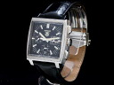 Tag Heuer - TAG HEUER - Monaco chronograph black dial SS / leather auto