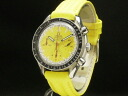 Omega - OMEGA - speed master Schumacher yellow self-winding watch SS case / leather men