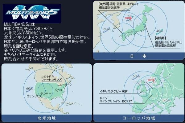 MULTIBAND5とは日本<福島局(JJY:40kHz)と九州局(JJY:60kHz)>、北米、イギリス、ドイツ、世界5局の標準電波に対応。日本や北米、ヨーロッパ主要都市で電波を受信し時刻を自動修正、各エリアの正確な時刻を表示します。もちろんサマータイムにも対応、時刻合わせの手間が省けます。