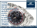 CASIO EDIFICEカシオ men'sアナデジWrist watchエディフィス Black&RedDial Stainless steelBelt[EFA121D-1]