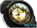 + Casio baby G overseas imports model neon dial series an analog-digital watch black / gold BGA-160-1BDR