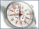 + Overseas model Casio edifice analog Multifunction mens watch stripe white / metallic orange white EF-343-7AVDF