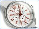 + Overseas model Casio edifice analog Multifunction mens watch stripe white / metallic orange white EF-343-7AVDF