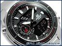 カシオエディフィスアナデジクロノグラフメンズ watch black silver stainless steel belt EFA-131D-1A1VDF