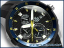 Casio foreign countries モデルエディフィスメンズ watch chronograph blue bezel black X yellow dial black urethane belt EFM-502-1AVDF