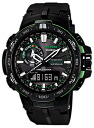 Casio protrek CASIO PRO TREK PROTREK radio solar radio watch men's an analog-digital watch black green PRW-6000Y-1AJF