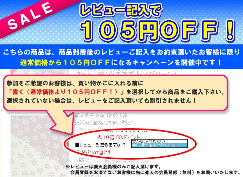 レビュー記入で105円OFF!