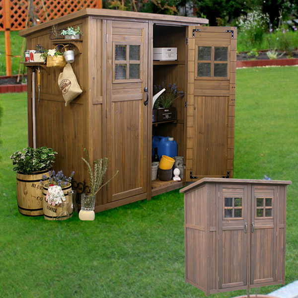 天然木 物置 小屋 屋外収納 カントリー小屋 収納庫 天然木杉材 幅156cm DNS-0177【送料無料】