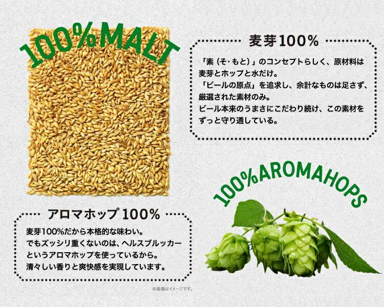 麦芽100%・アロマホップ100%