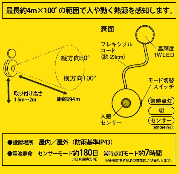 先みて安心 どこでもセンサーライト ASL-070
