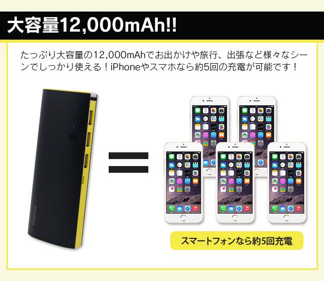 大容量12000mAhモバイルバッテリーiPhoneやスマートフォンなら約5回の充電が可能