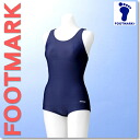 Women's school swimsuit footmark Pat with nylon Towey S m L LL / junior