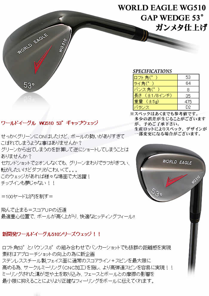 WORLD EAGLE WG510 GAP WEDGE 53°サテン仕上げ