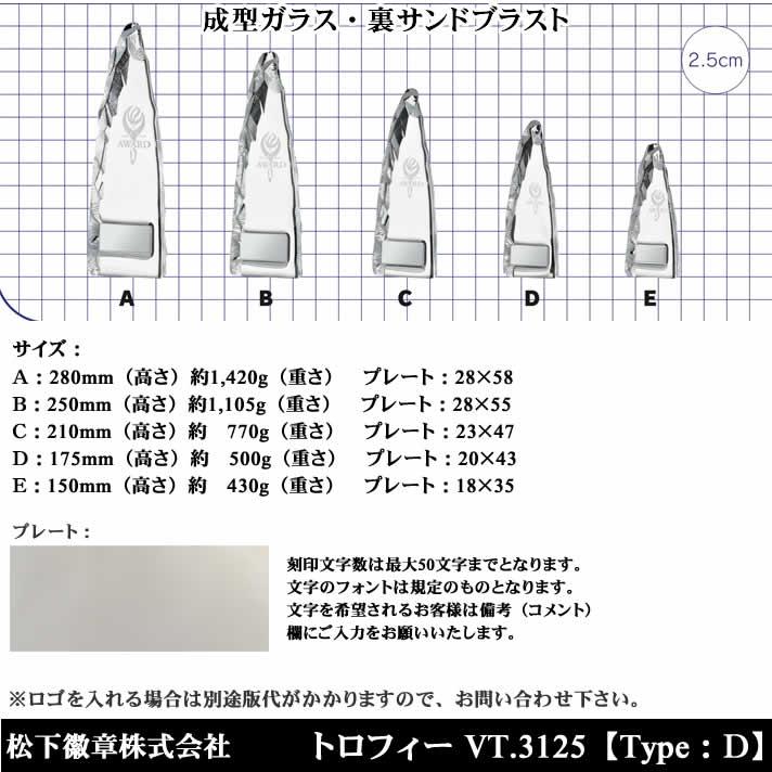 トロフィー VT3125 D【松下徽章】
