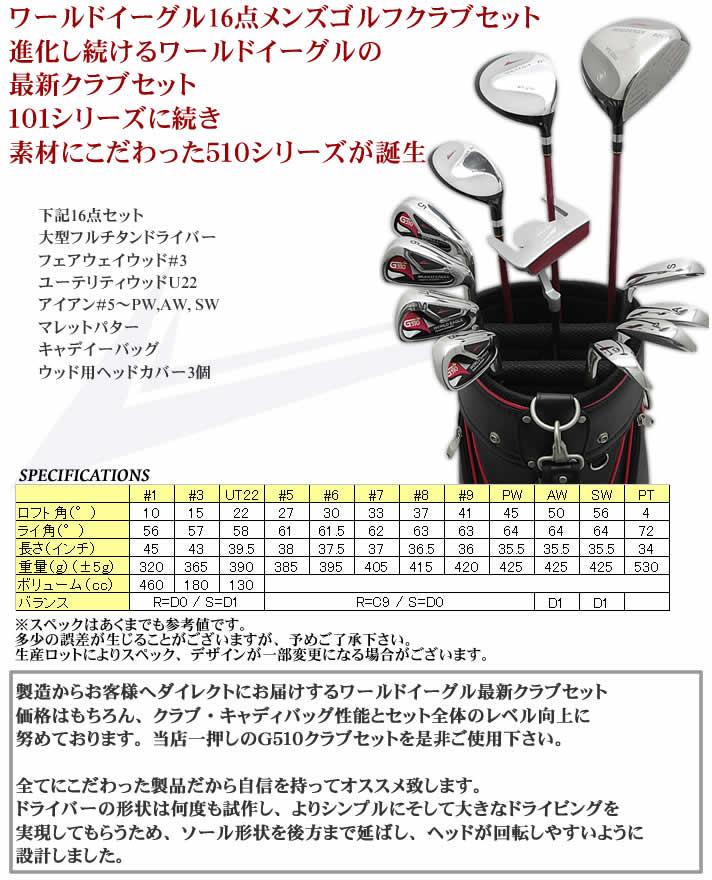 WORLD EAGLE G510 MENS GOLF CLUB SET:ワールドイーグル G510 16点メンズ クラブ セット