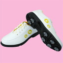 A cute lady's shoes appearance! GS300 Lady's golf spiked shoes yellow 24.5cm