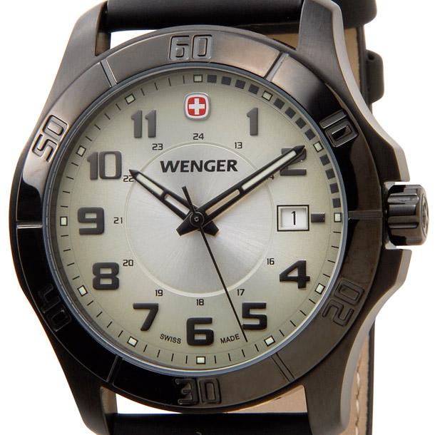 ウェンガー メンズ時計 WENGER WEN70474 ALPINE グリーンカワ グリーン × ブラック詳細a