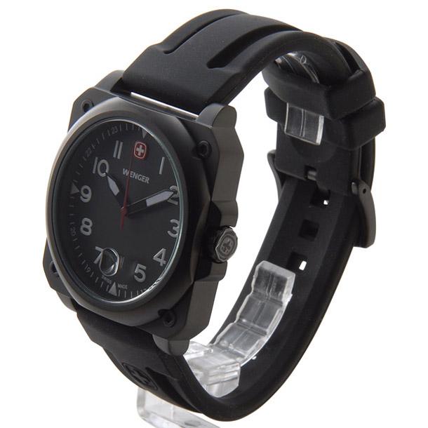 ウェンガー メンズ時計 WENGER WEN72424 エアログラフコクピットPU ブラック × ブラック