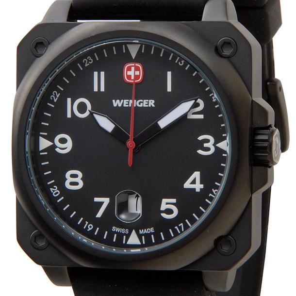 ウェンガー メンズ時計 WENGER WEN72424 エアログラフコクピットPU ブラック × ブラック詳細a