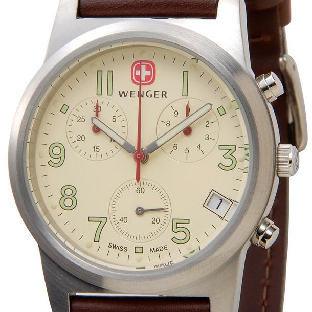 ウェンガー メンズ時計 WENGER WEN72951フィールドクロノ IVカワ アイボリー × ブラウン詳細a