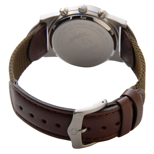 ウェンガー メンズ時計 WENGER WEN72951フィールドクロノ IVカワ アイボリー × ブラウン詳細b