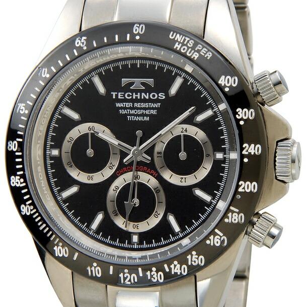 テクノス メンズ時計 TECHNOS クロノグラフ チタン T4322IT