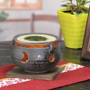 Ideal for pottery making healing space, Interior! Shin raku pottery black sand tea incense / aroma pot / tea / / pottery and while big and