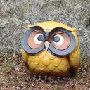 Shin Shigaraki Pottery OWL figurine! And no. 9, 福多 t. (yellow) OWL / pottery OWL and Shin raku pottery and OWL figurine / OWL / while big shine / ceramics / pottery / gift