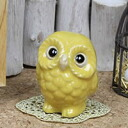 Feng Shui OWL! Yellow OWL fortune in profits! Shin Raku and OWL figurines / pottery OWL / OWL / or kimono / and while big / pottery / luck / pottery / gift