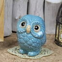 Feng Shui OWL! Blue OWL favours in the profits! Shin Raku and OWL figurines / pottery OWL / OWL / or kimono / and while big / pottery / luck / pottery / gift