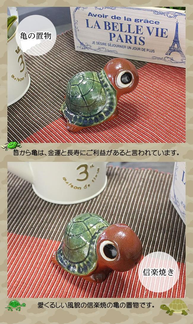 亀の置物 信楽焼きカメ 陶器かめ置き物